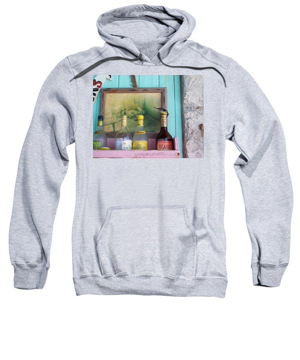 Charity Sweatshirt featuring the photograph Rum Shack Bananaquit by Mary-Lee Sanders