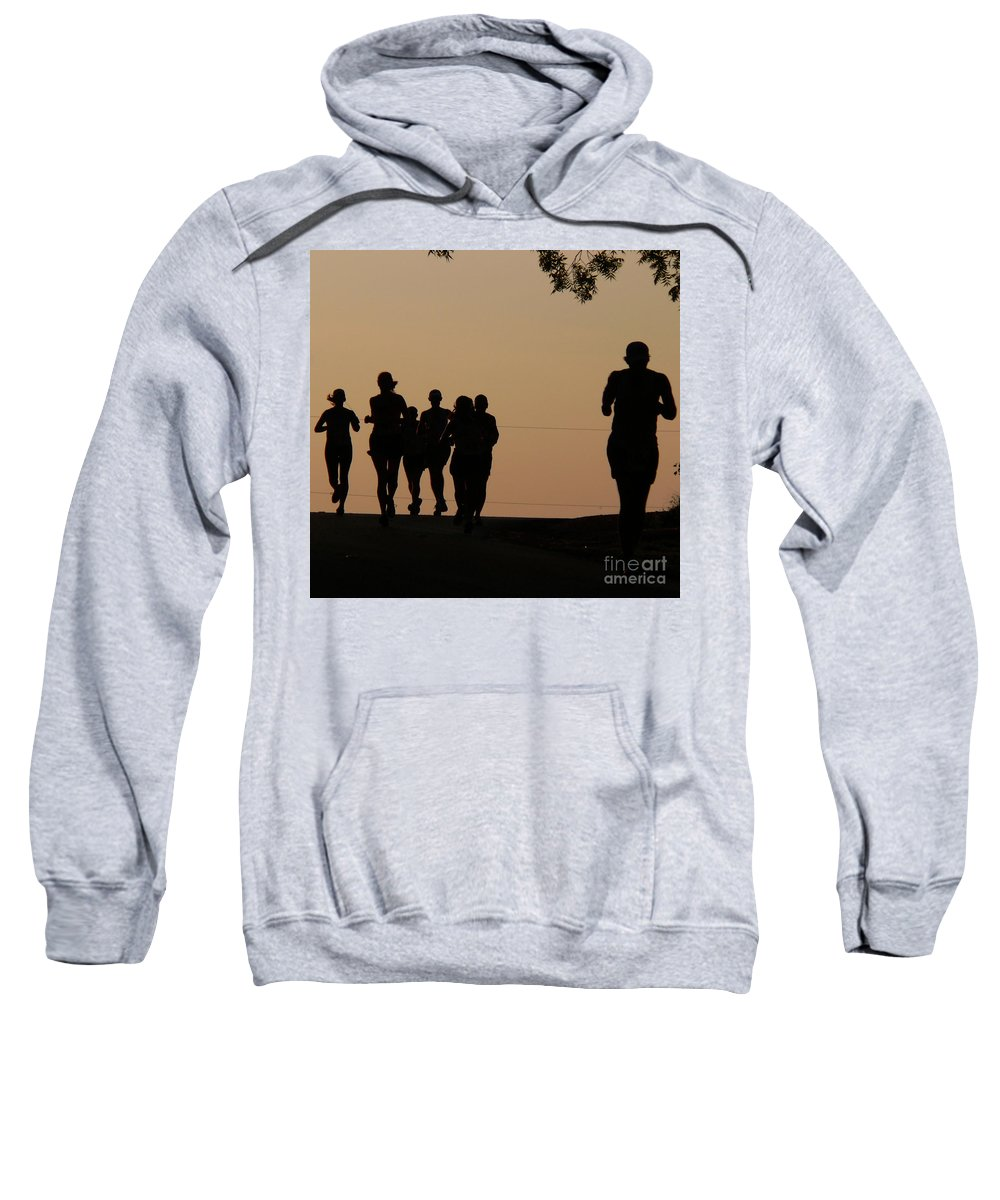 Running Sweatshirt featuring the photograph Running by Angela Wright