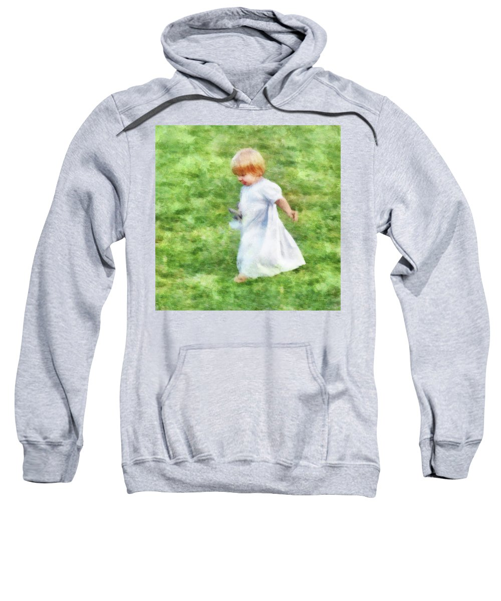 Girl Sweatshirt featuring the digital art Running Barefoot In The Grass by Francesa Miller