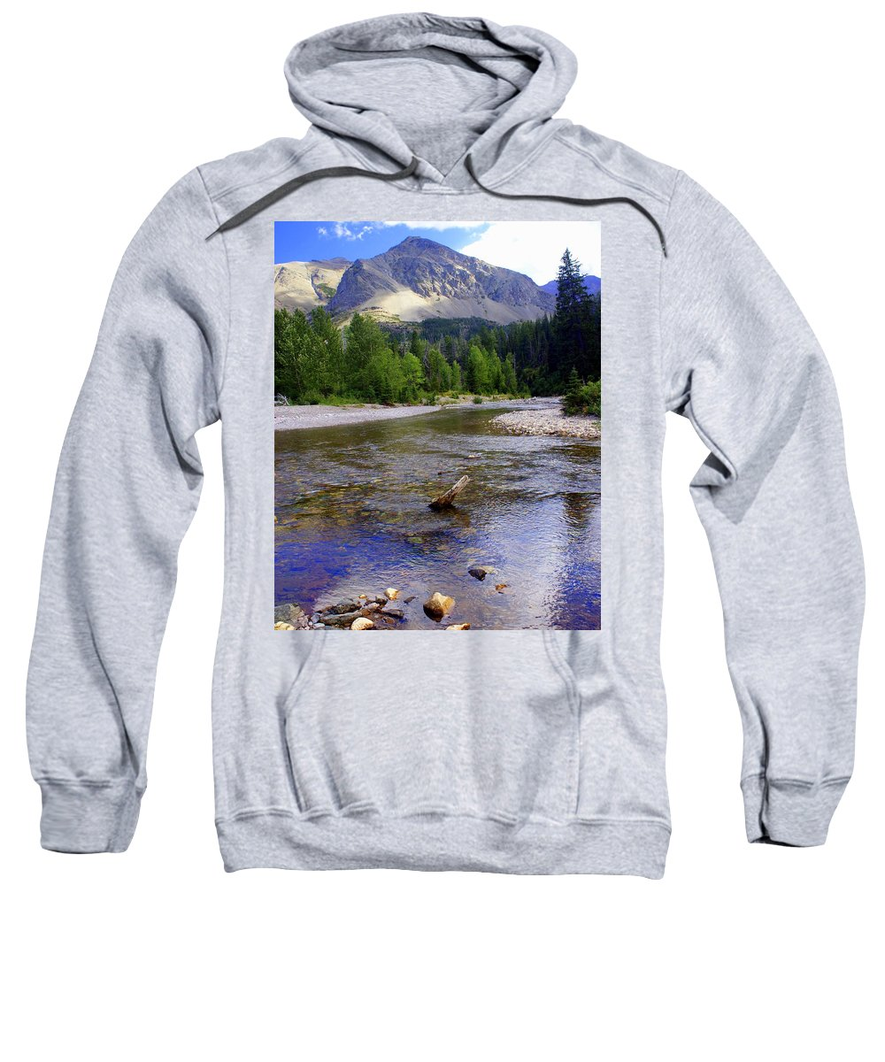 Stream Glacier National Park Sweatshirt featuring the photograph Running Eagle Creek Glacier National Park by Marty Koch