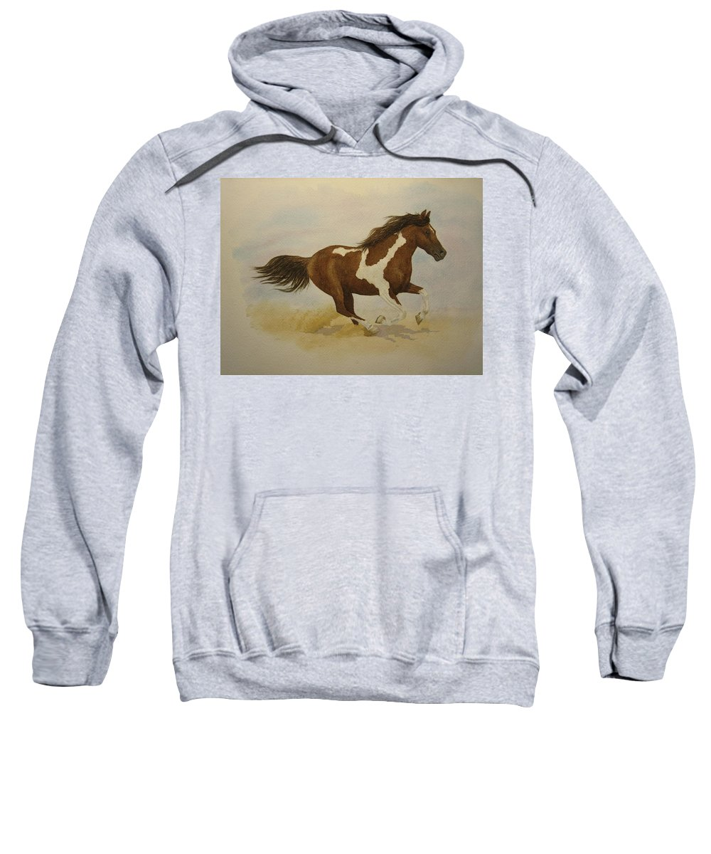 Paint Horse Sweatshirt featuring the painting Running Paint by Jeff Lucas