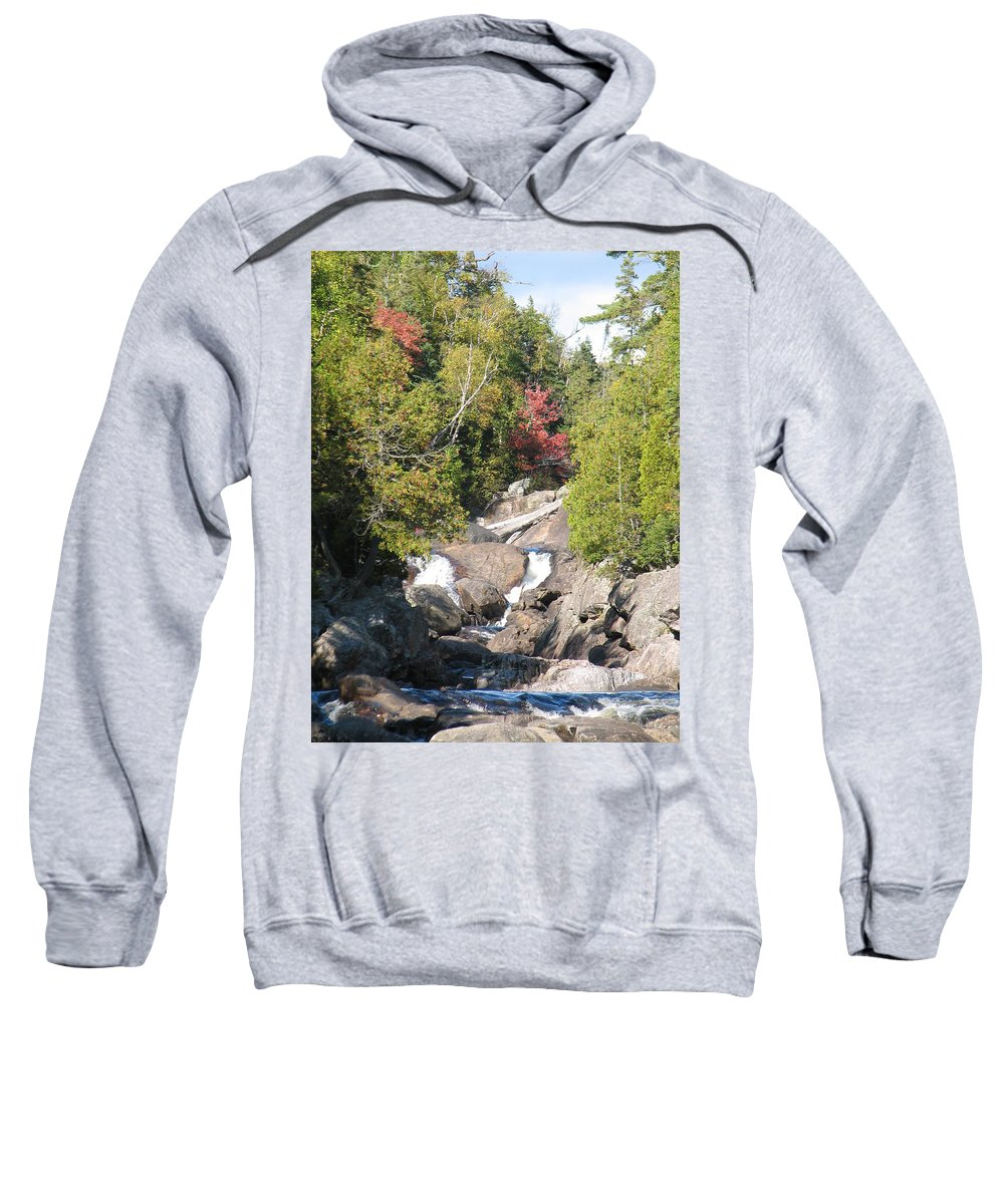 Waterfall Sweatshirt featuring the photograph Running Through The Woods by Kelly Mezzapelle