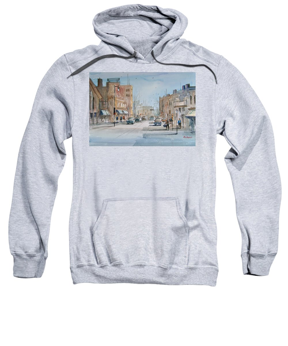 Street Scene Sweatshirt featuring the painting Rush Hour - Fond Du Lac by Ryan Radke