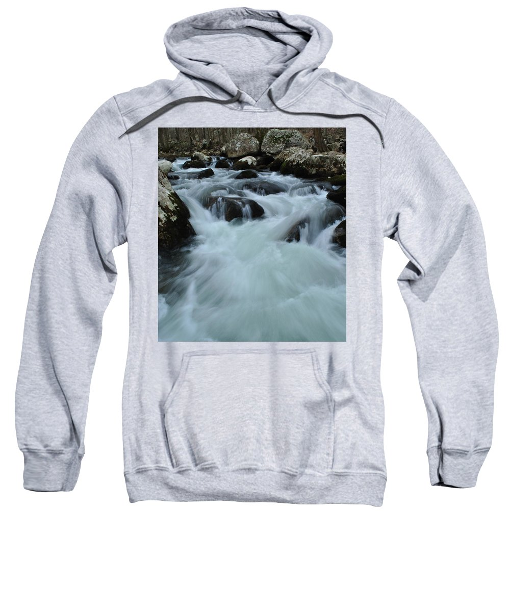 Water Sweatshirt featuring the photograph Rushing Waters by Eric Liller