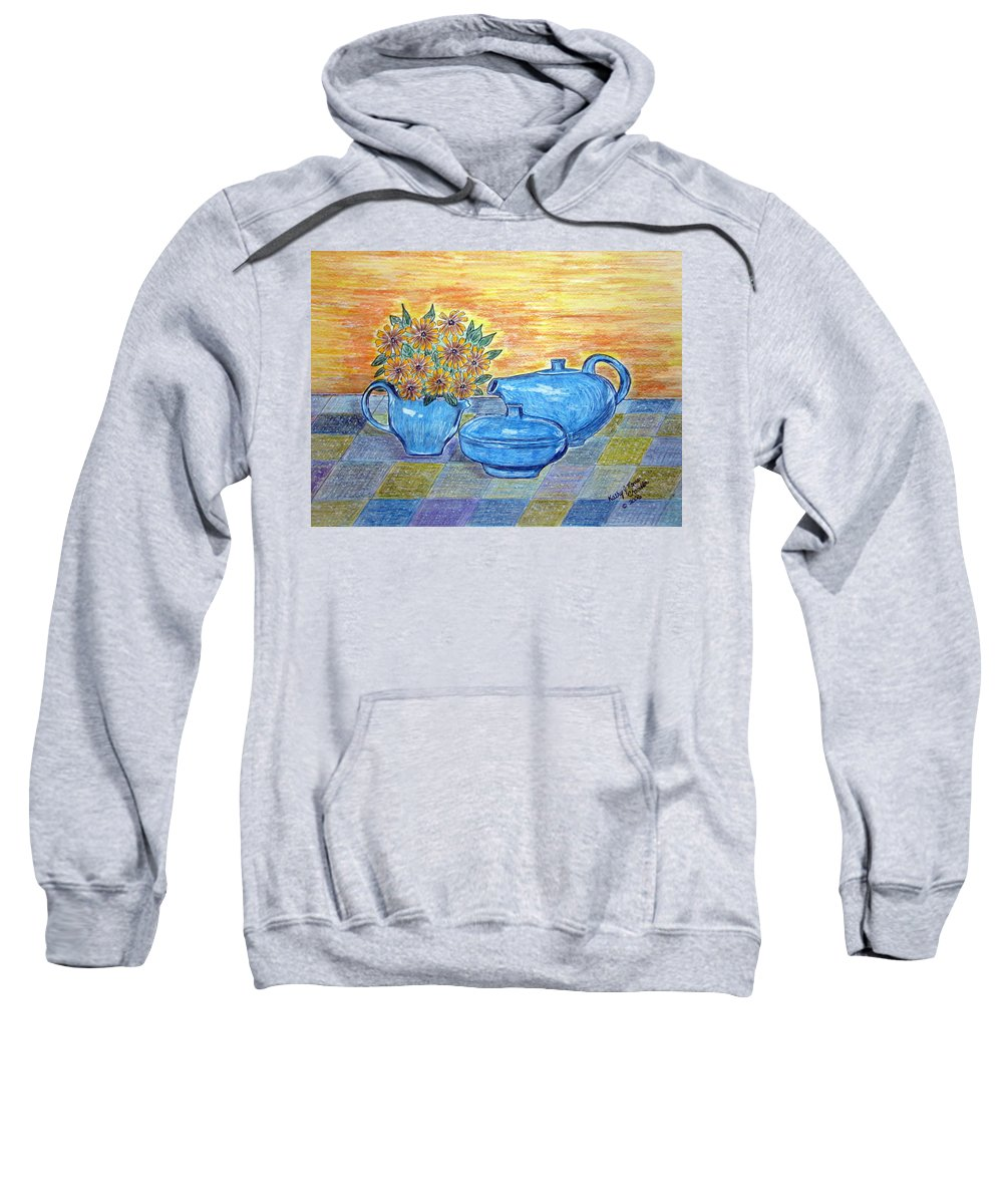 Russell Wright China Sweatshirt featuring the painting Russel Wright China by Kathy Marrs Chandler