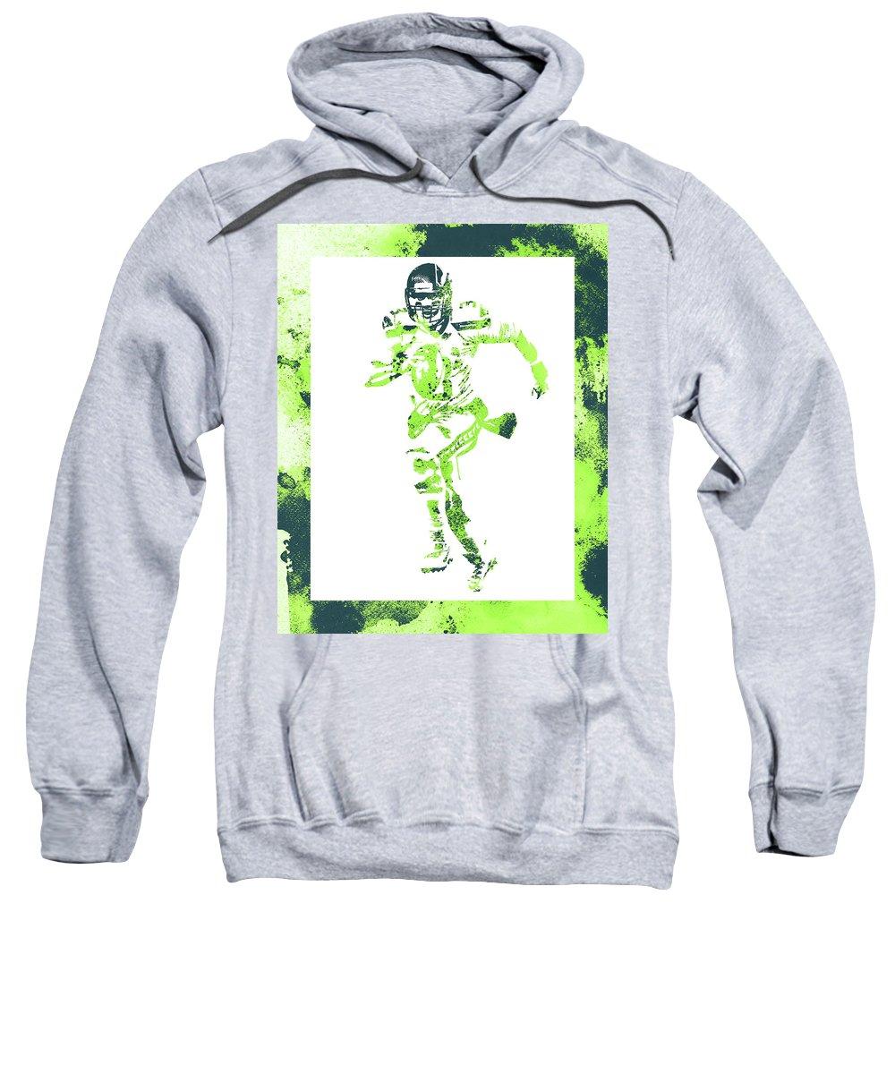 Russell Wilson Sweatshirt featuring the mixed media Russell Wilson Seattle Seahawks Water Color Art 1 by Joe Hamilton