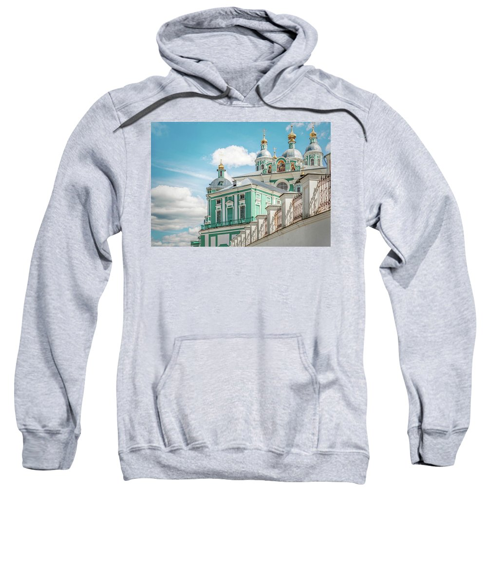 Orthodoxy Ancient Architecture Aureate Beauteous Beautiful Beautiful Blue Cathedral Celebrated Chair Clouds Creator Crosses Cult Dais Day Deify Deity Divinity Divinize Domes Eldest Eminent Excellent Faith Famed Famous Fine Gilded Gilt Glorious God Gold-filled Gold-plated Grandeur Great Greatness Greatness Holy Lovely Majesty Monasticism Nailing Old Power Religion Sweatshirt featuring the photograph Russian Orthodox Cathedral. by Yurii Agibalov