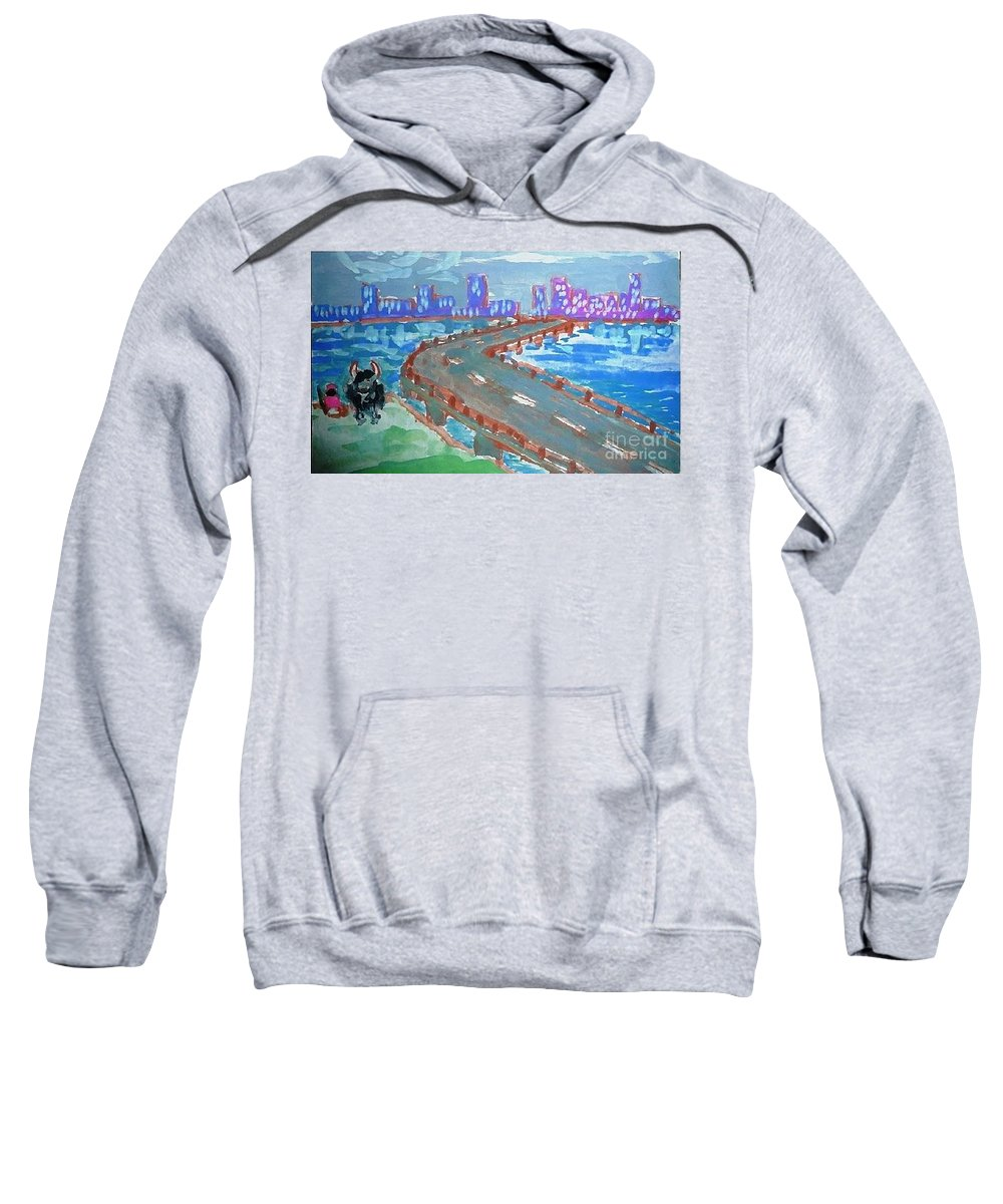 Bridge Sweatshirt featuring the painting Rustic-city by Ayyappa Das