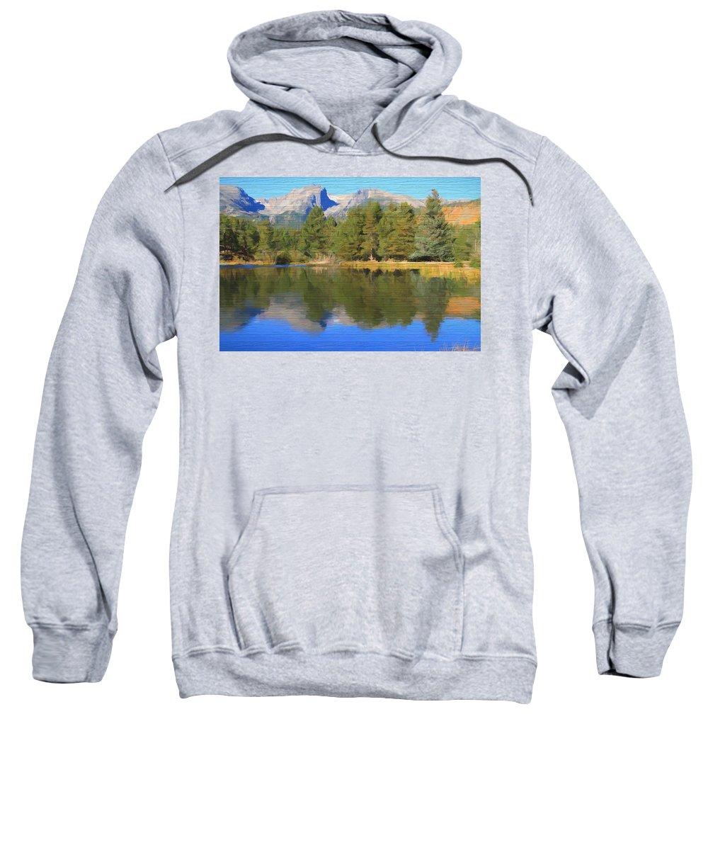 Rustic Sprague Lake Reflections Sweatshirt featuring the mixed media Rustic Sprague Lake Reflections by Dan Sproul