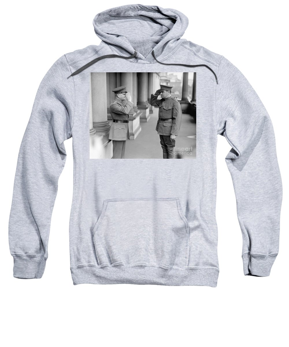 104th Sweatshirt featuring the photograph Ruth & Pershing, 1924 by Granger