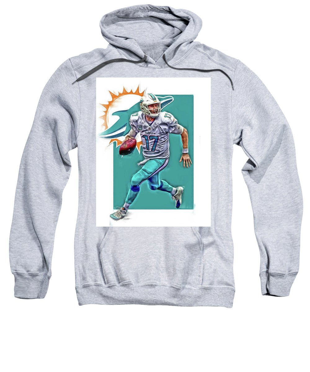 Ryan Tannehill Sweatshirt featuring the mixed media Ryan Tannehill Miami Dolphins Oil Art by Joe Hamilton