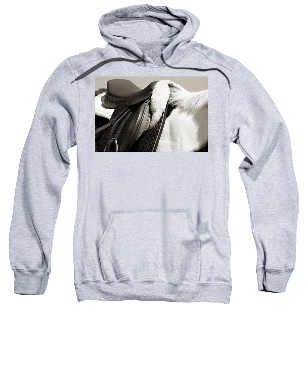 Horse Sweatshirt featuring the photograph Saddle And Softness by Marilyn Hunt