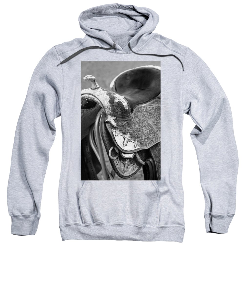 Americana Sweatshirt featuring the photograph Saddle by Marilyn Hunt
