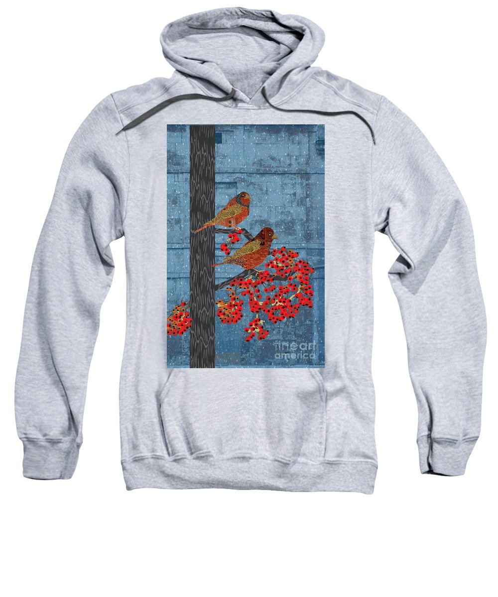 Quilted Birds Sweatshirt featuring the digital art Sagebrush Sparrow Long by Kim Prowse