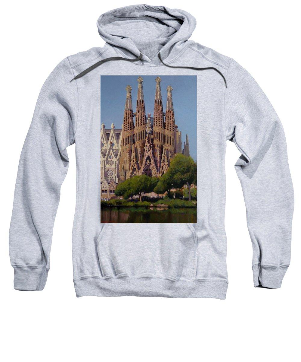Spain Sweatshirt featuring the painting Sagrada Familia by Dianne Panarelli Miller