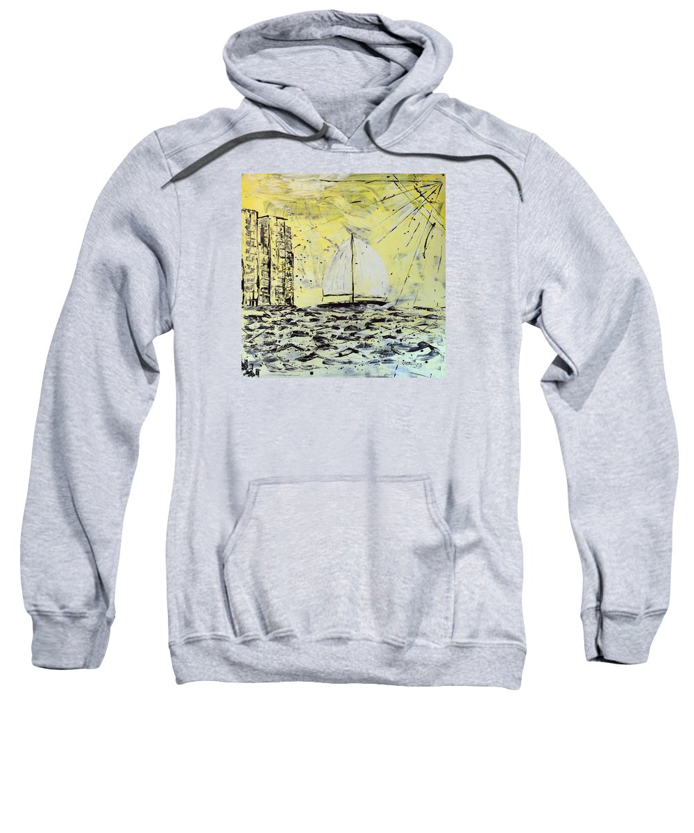 Sailboat With Sunray Sweatshirt featuring the painting Sail And Sunrays by J R Seymour