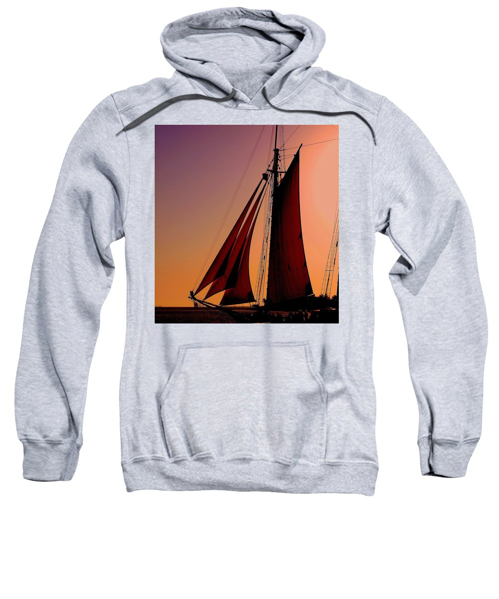 Sailing Sweatshirt featuring the photograph Sail At Sunset by Susanne Van Hulst