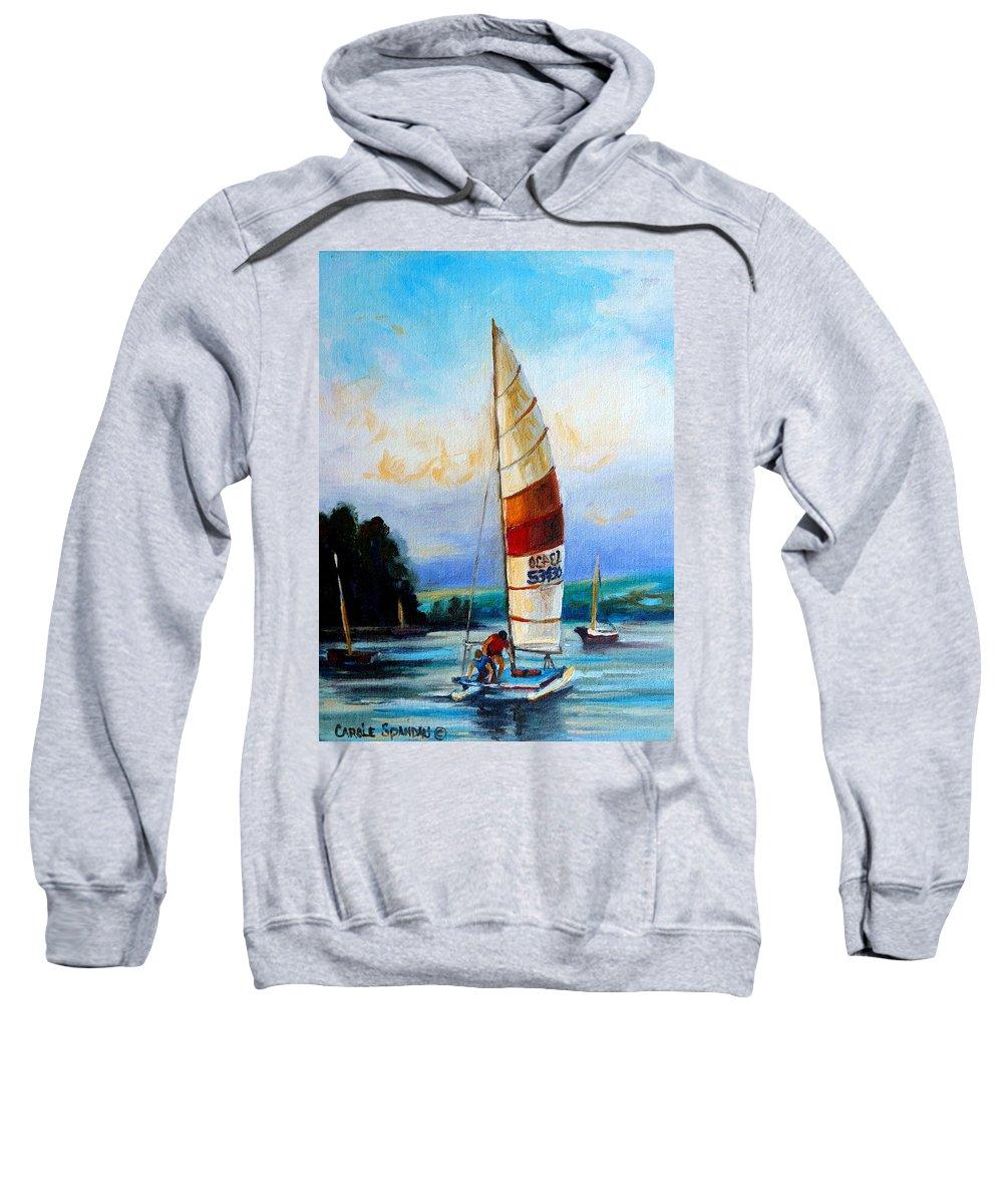 Sail Boats On The Lake Sweatshirt featuring the painting Sail Boats On The Lake by Carole Spandau