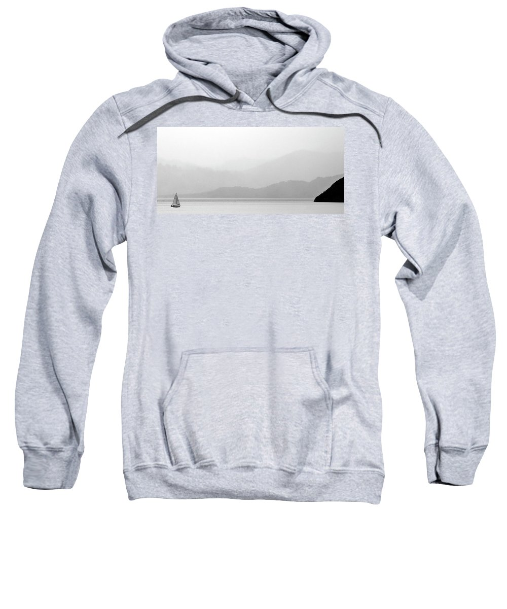 Misty Sweatshirt featuring the digital art Sailboat On New Zealands Cook Strait by Mark Duffy