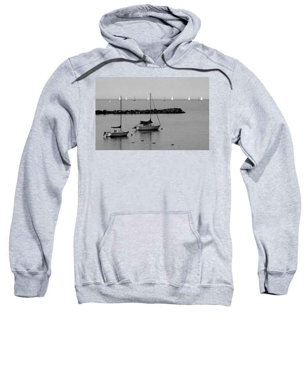 Sailboats Sweatshirt featuring the photograph Sailboats And Ducks B-w by Anita Burgermeister