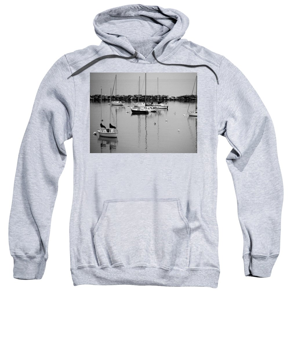 Sailboats Sweatshirt featuring the photograph Sailboats Resting B-w by Anita Burgermeister