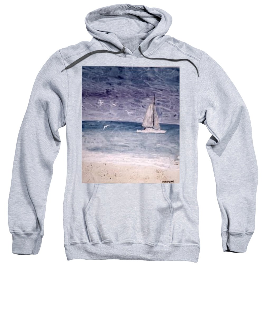 Watercolor Seascape Sailing Boat Landscape Painting Sweatshirt featuring the painting Sailing At Night Nautical Painting Print by Derek Mccrea