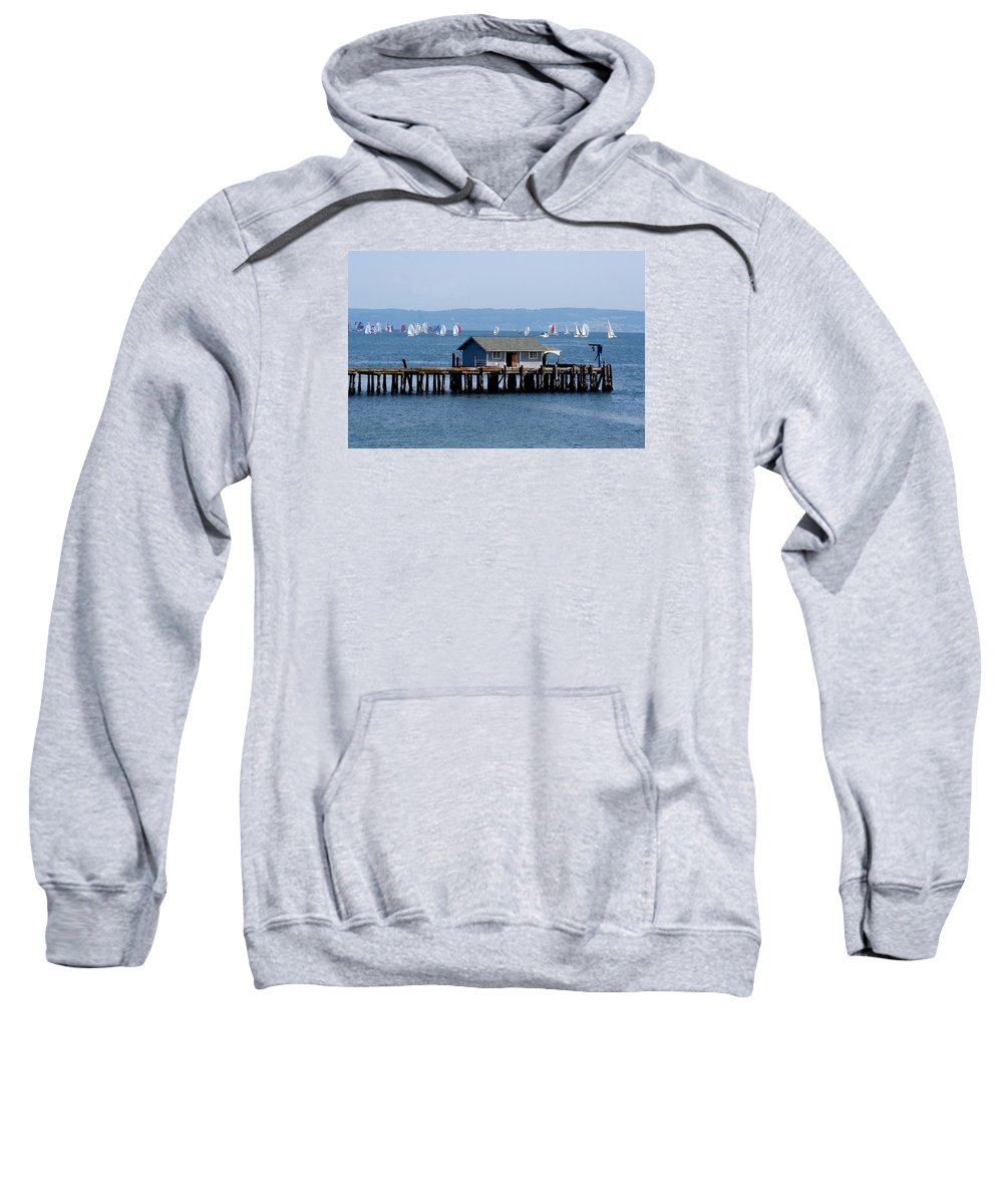 Penncove Sweatshirt featuring the photograph Sailing At Penn Cove by Mary Gaines