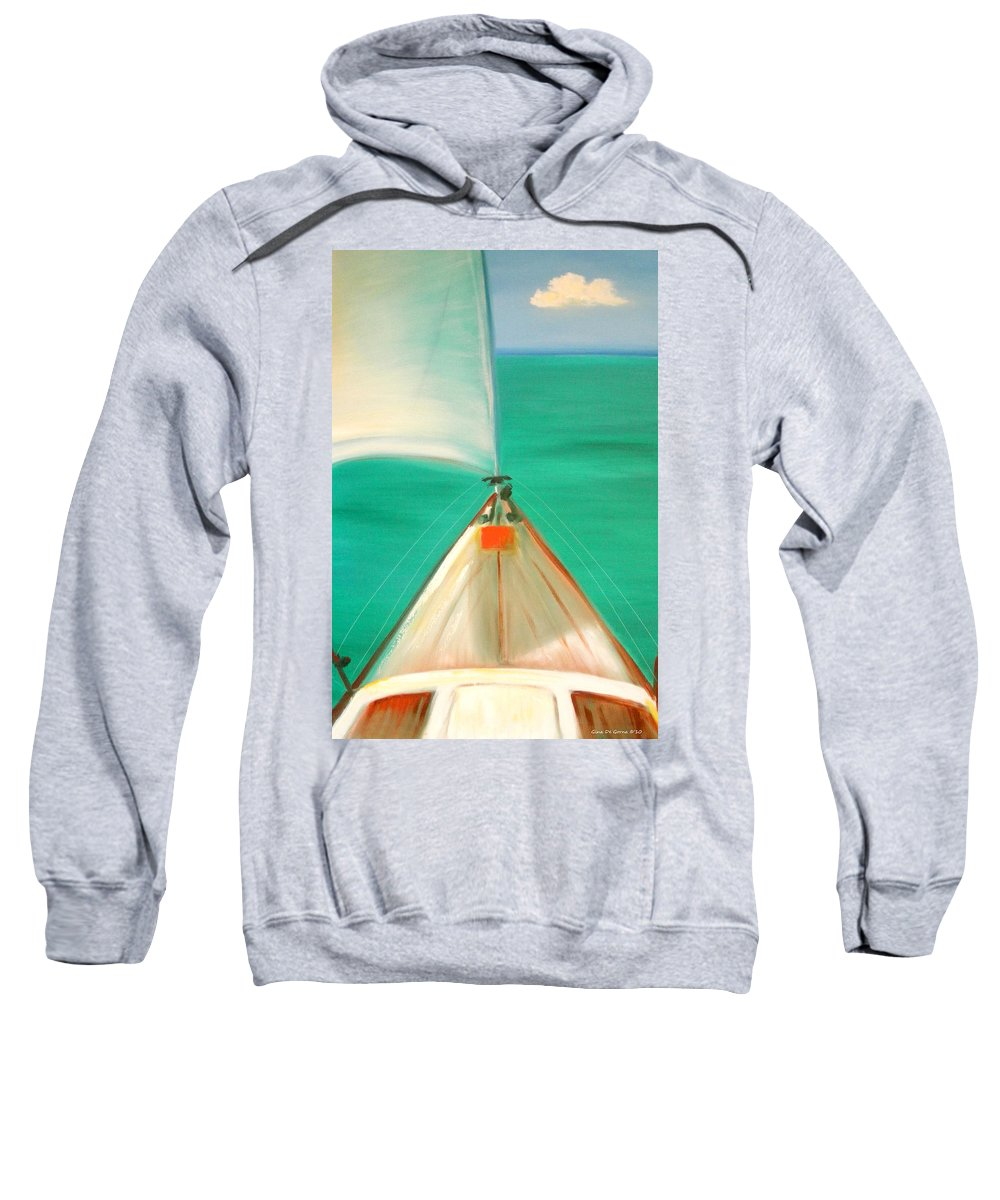 Sea Sweatshirt featuring the painting Sailing by Gina De Gorna