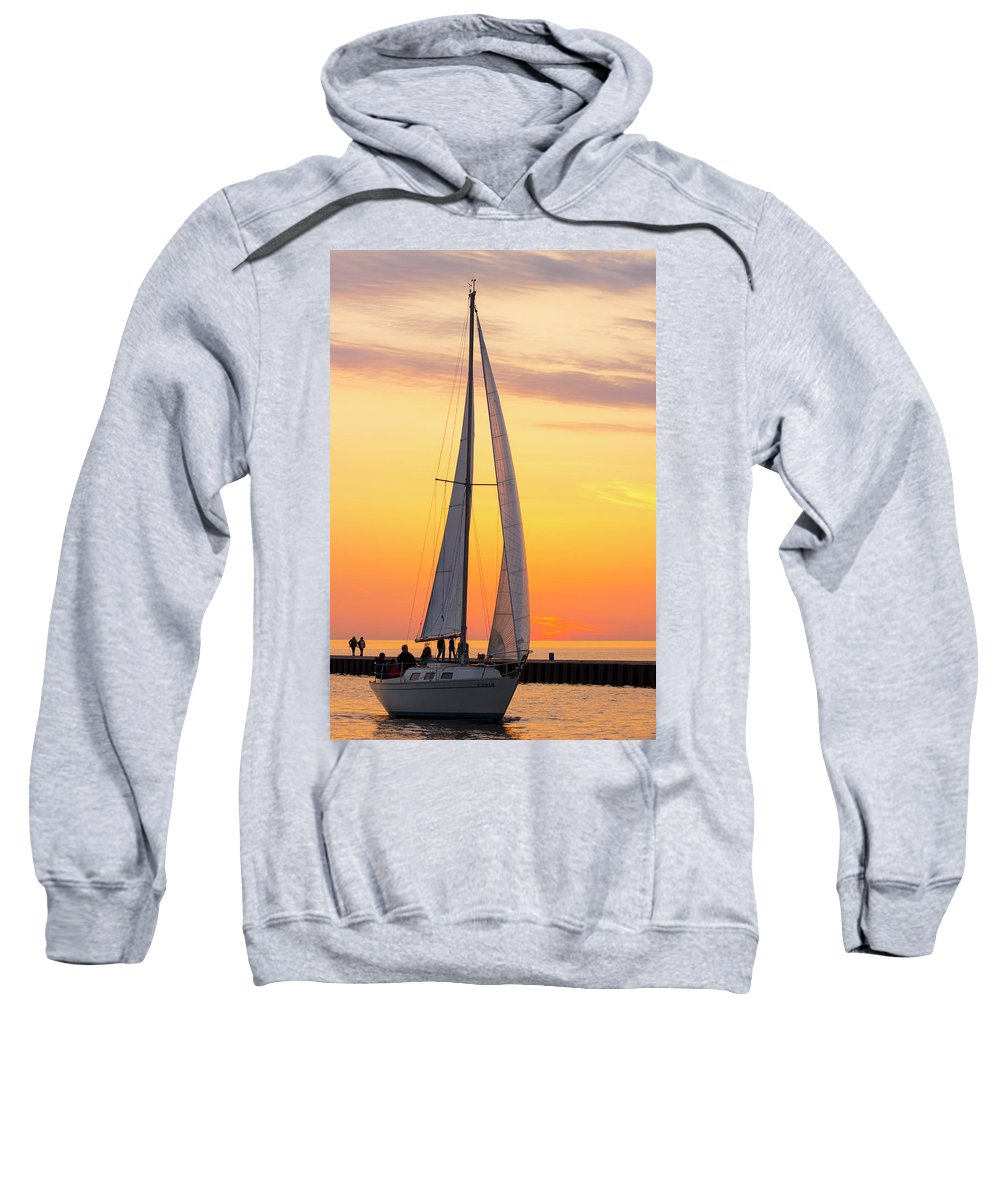 Sailboat Sweatshirt featuring the photograph Sailing In by Tammy Chesney
