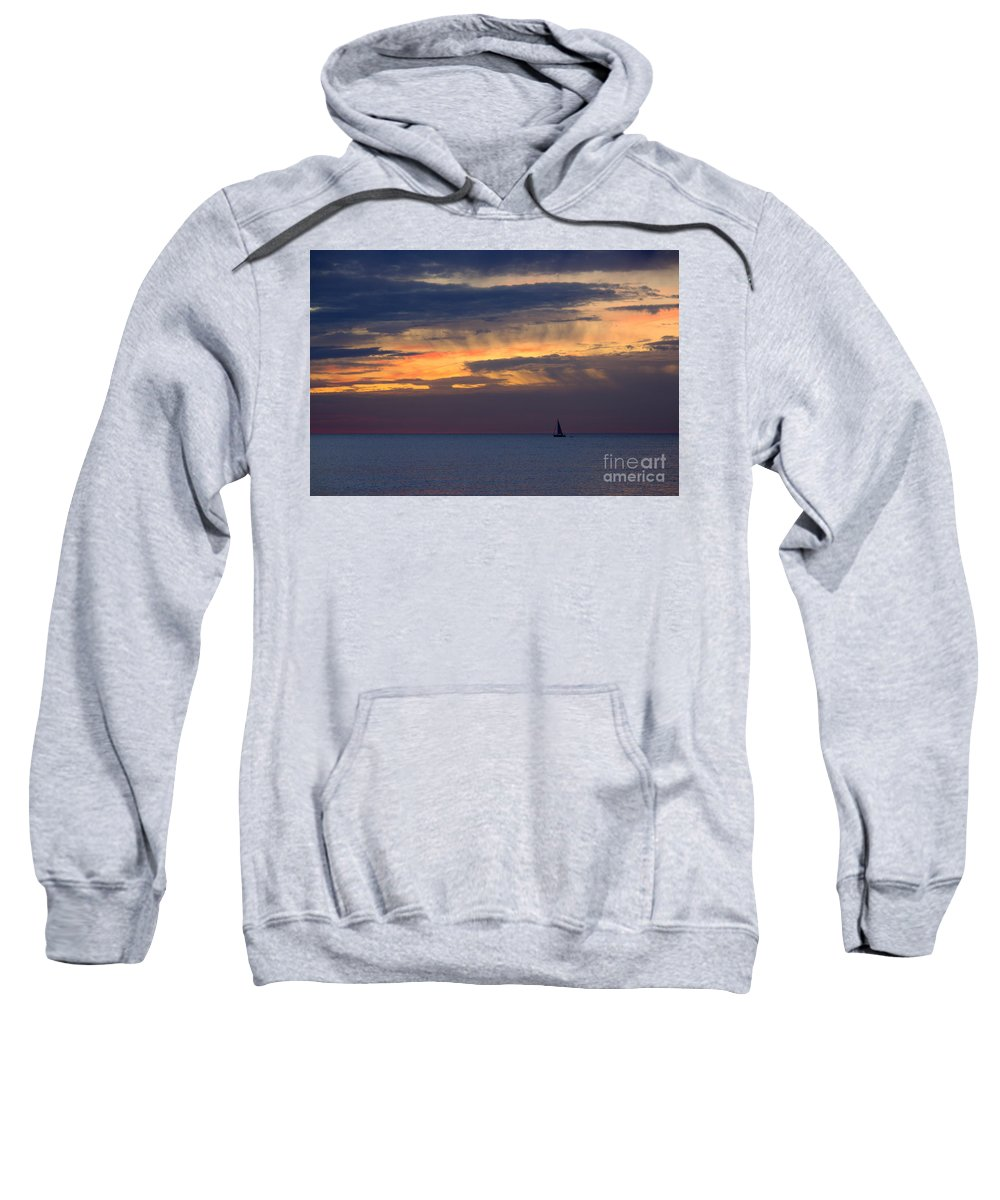 Grand Bend Sweatshirt featuring the photograph Sailing On A Paint Brush by John Scatcherd
