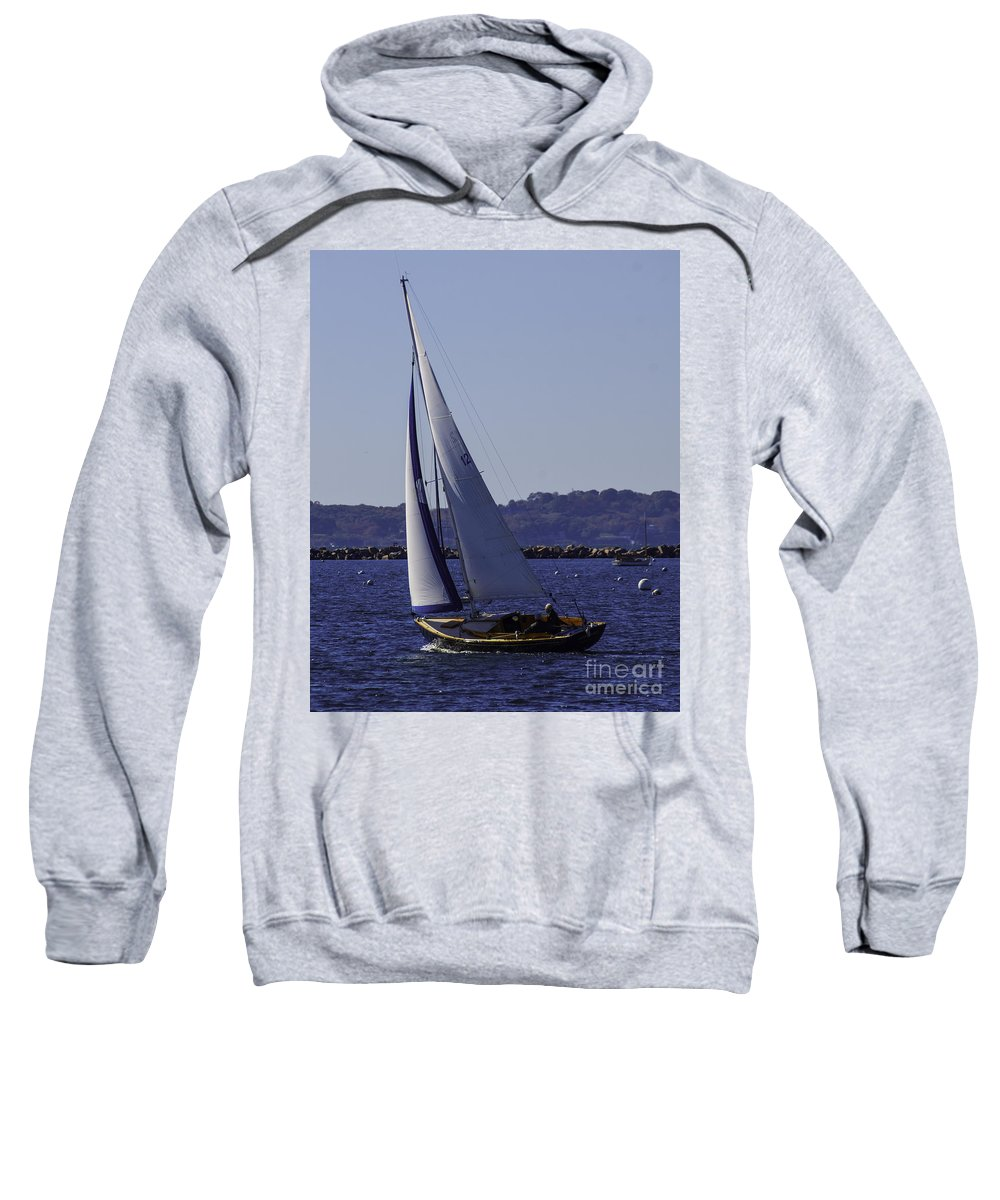 Atlantic Sweatshirt featuring the photograph Sailing Stonington Harbor by Joe Geraci