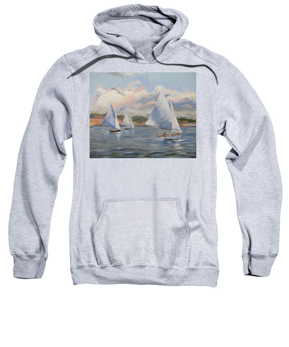 Seascape Sweatshirt featuring the painting Sailing Sunday by Jay Johnson