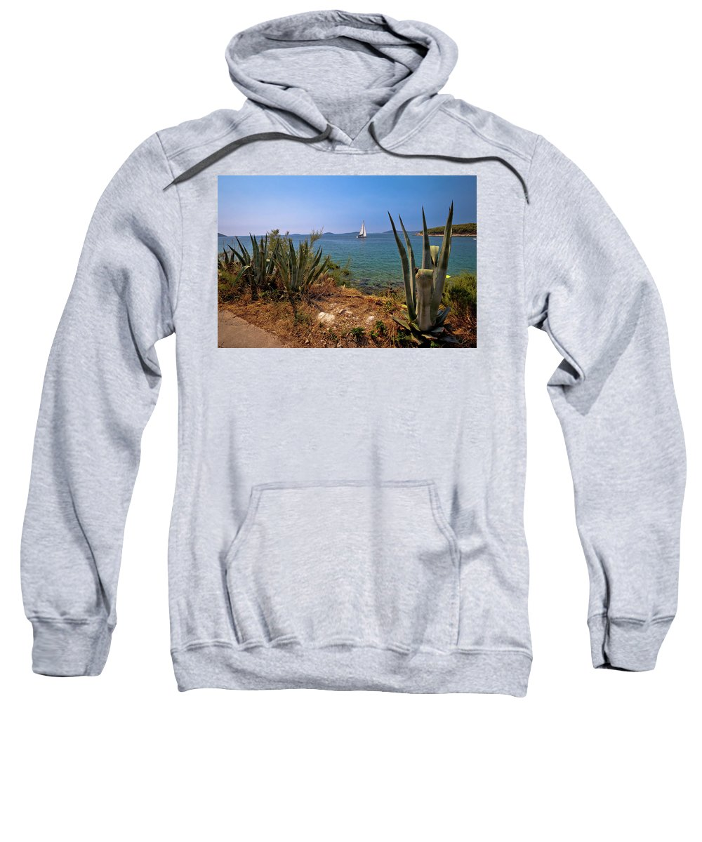 Prvic Sweatshirt featuring the photograph Sailing Waterfront Of Prvic Island View by Brch Photography
