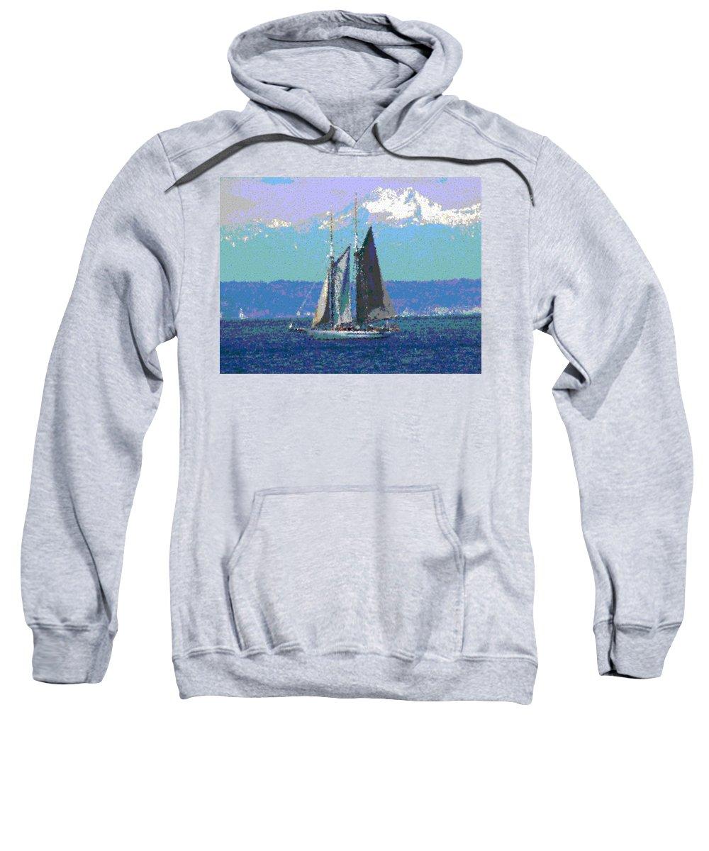 Sail Sweatshirt featuring the digital art Sailors Delight by Tim Allen
