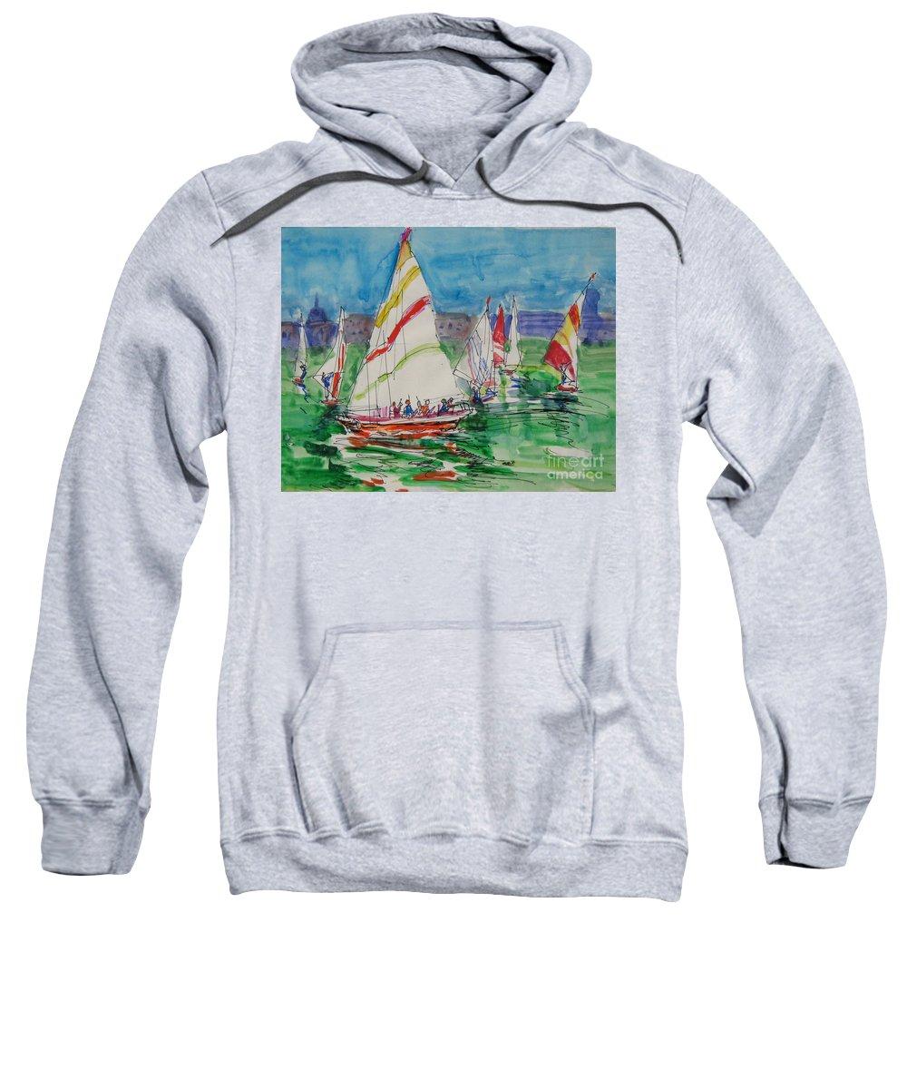 Boats Sweatshirt featuring the drawing Sails I by Guanyu Shi