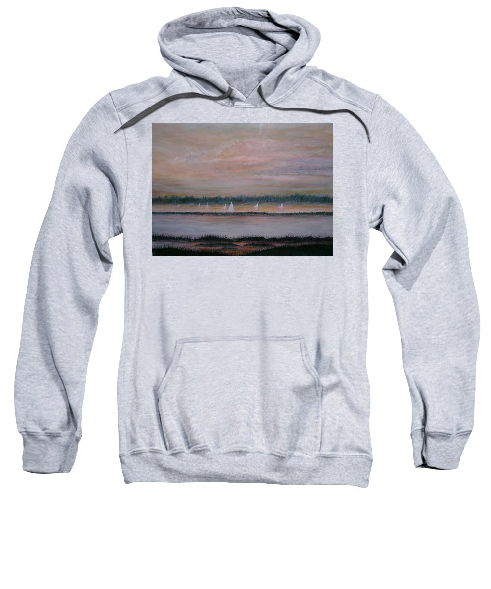 Sailboats; Marsh; Sunset Sweatshirt featuring the painting Sails In The Sunset by Ben Kiger