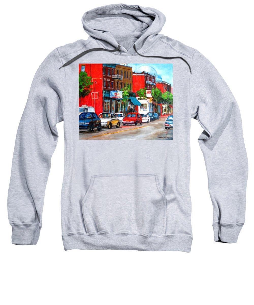 St.viateur Bagel Sweatshirt featuring the painting Saint Viateur Street by Carole Spandau