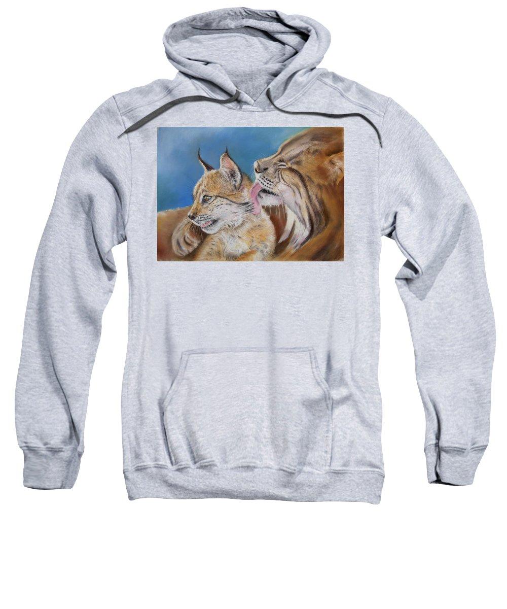 Iberian Lynx Sweatshirt featuring the painting Saliega Y Brezo by Ceci Watson