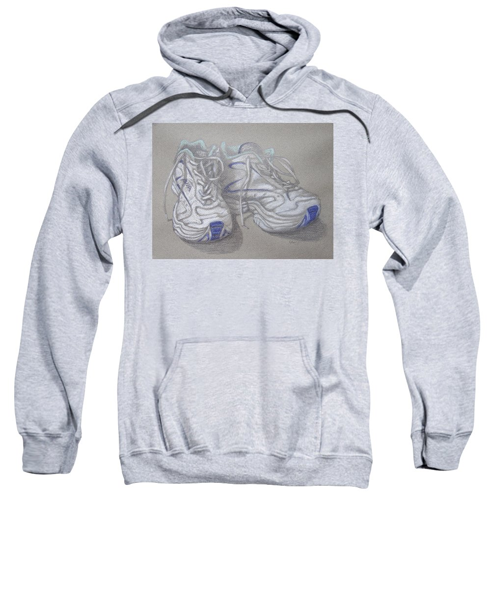 Sneakers Sweatshirt featuring the painting Sal's Sneakers by Laurie Paci