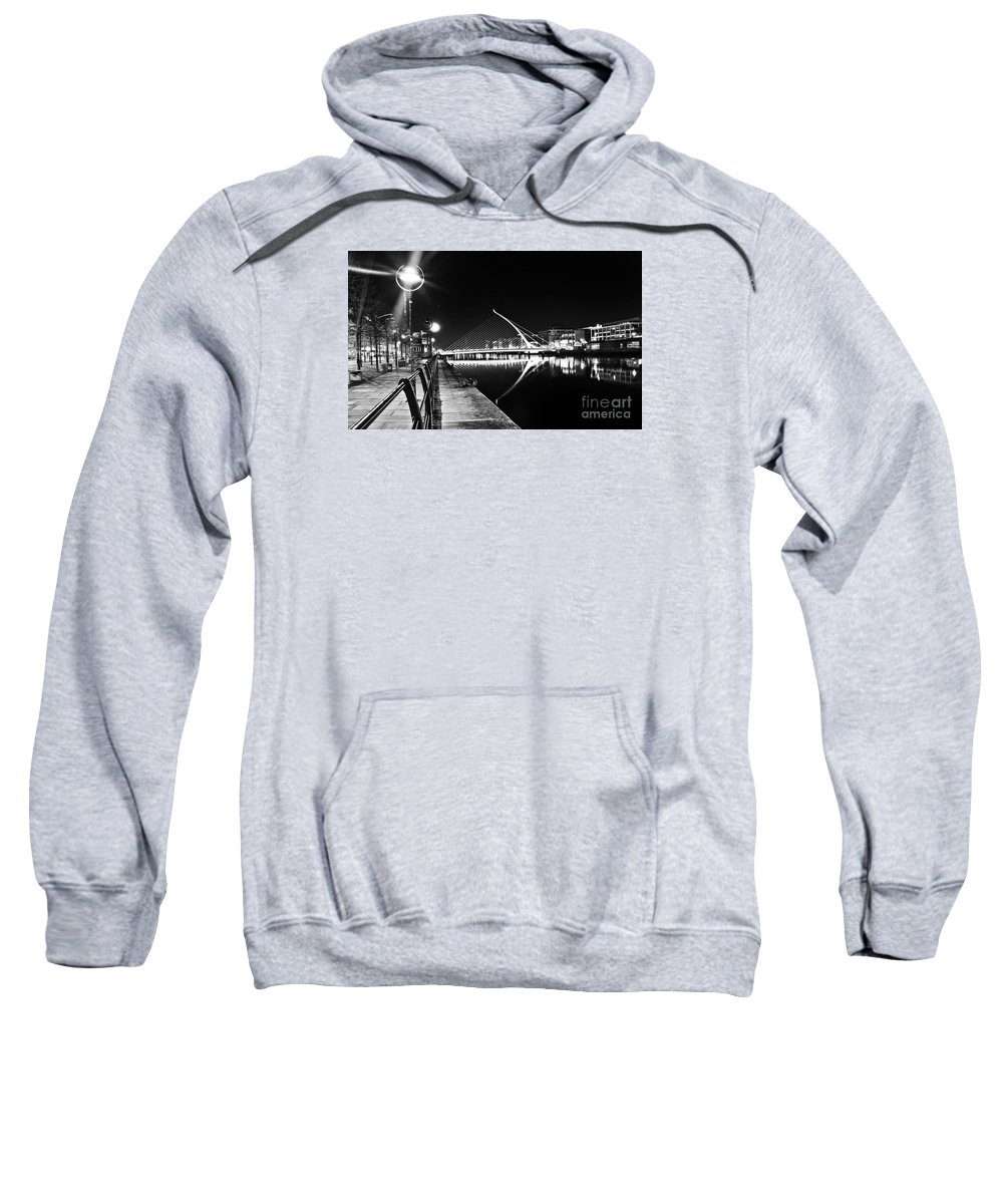The Convention Centre Reflection Sweatshirt featuring the photograph Samuel Beckett Bridge 2 Bw by Alex Art and Photo