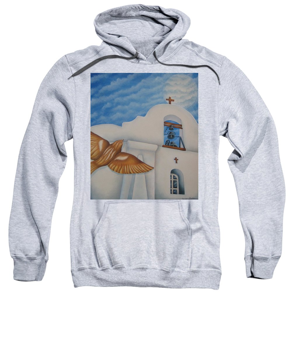 Sparrow Sweatshirt featuring the painting San Elizario On A Moonlit Morning by Jeniffer Stapher-Thomas