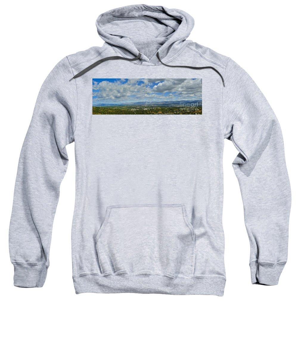 San Fernando Valley Sweatshirt featuring the photograph San Fernando Valley Panorama by David Zanzinger