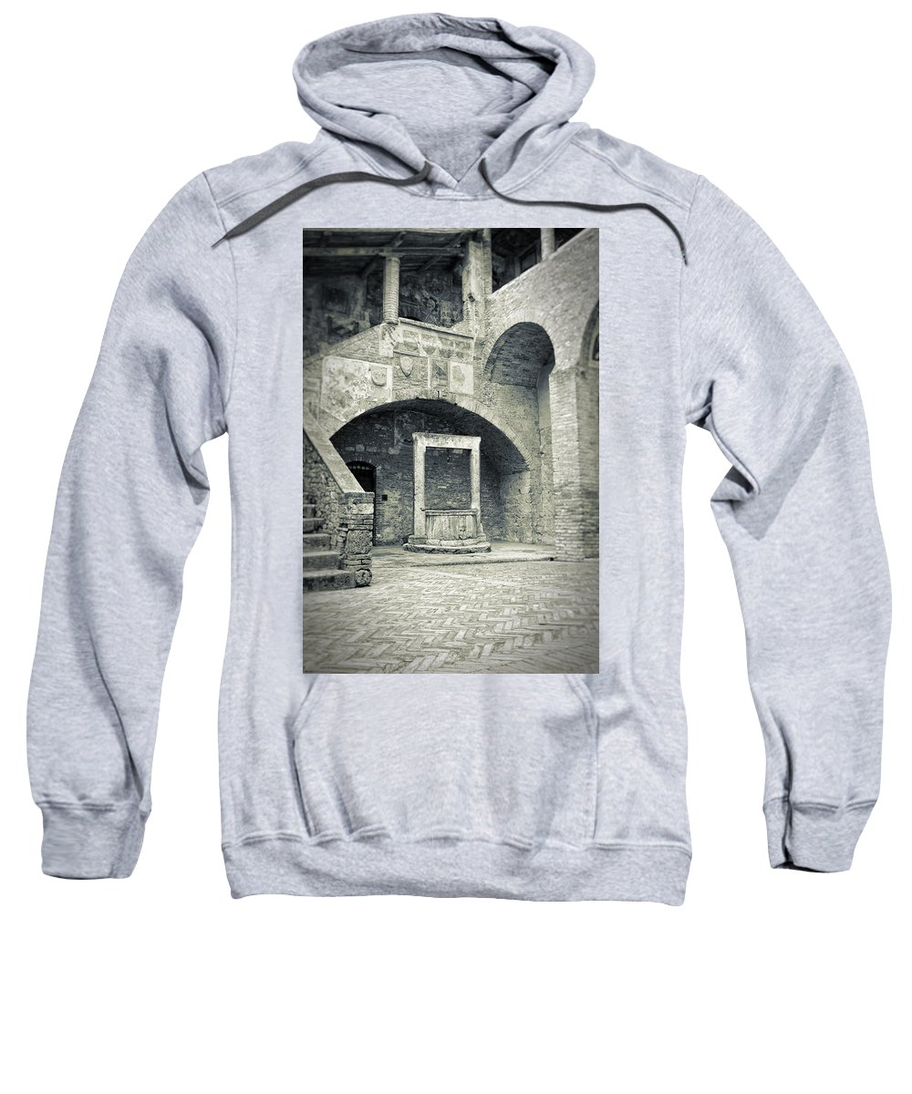 Ancient Sweatshirt featuring the photograph San Gimignano - Medieval Well by Silvia Ganora