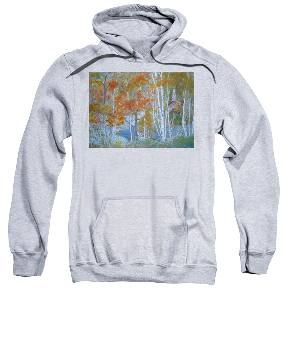 Church; Landscape; Birch Trees Sweatshirt featuring the painting Sanctuary by Ben Kiger