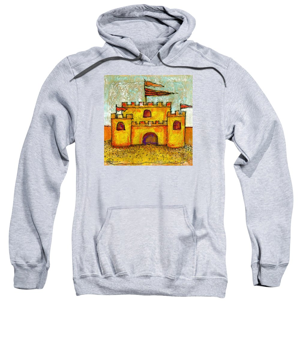 Castle Sweatshirt featuring the drawing Sand Castle by Mary Hanrahan