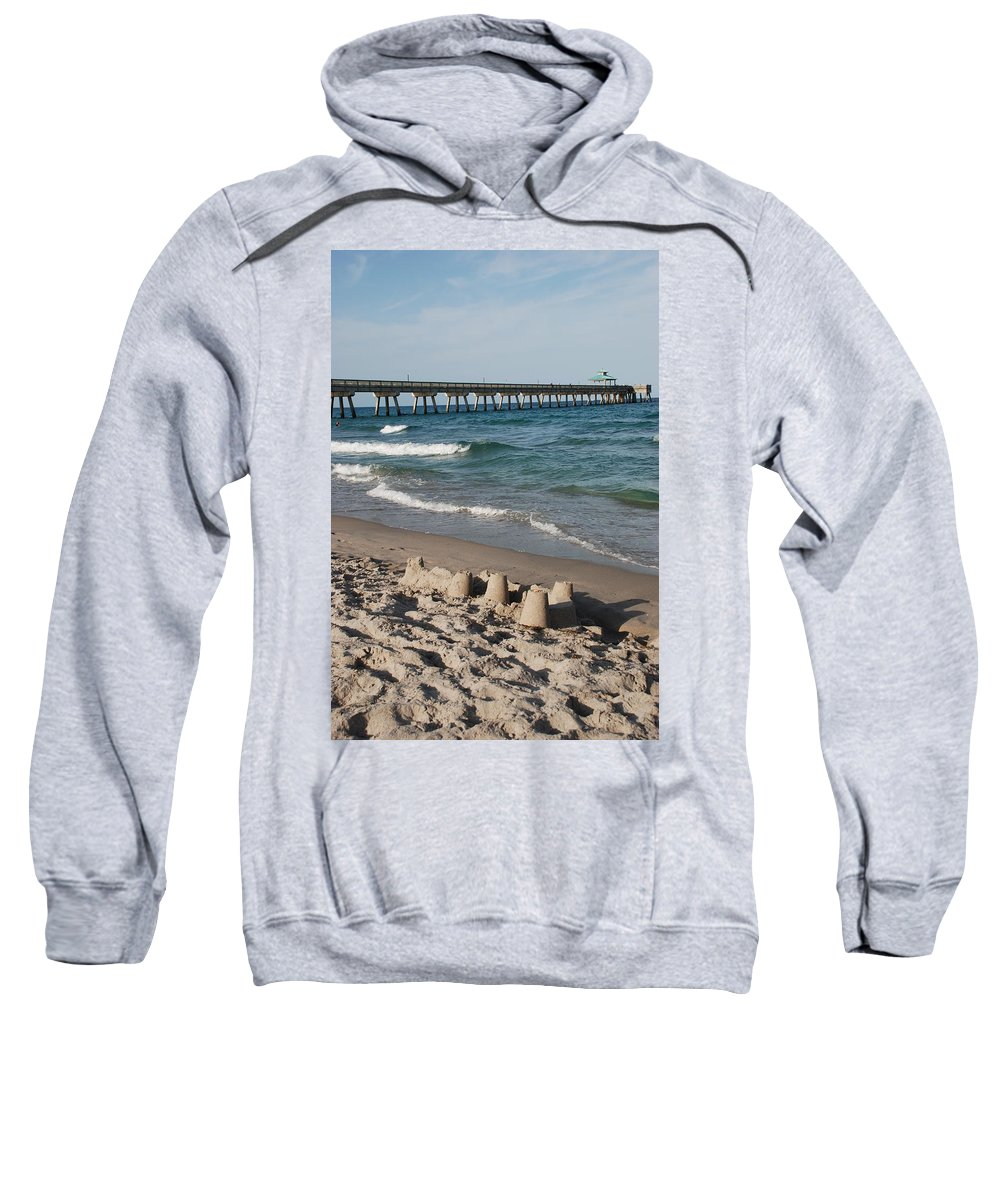 Sea Scape Sweatshirt featuring the photograph Sand Castles And Piers by Rob Hans