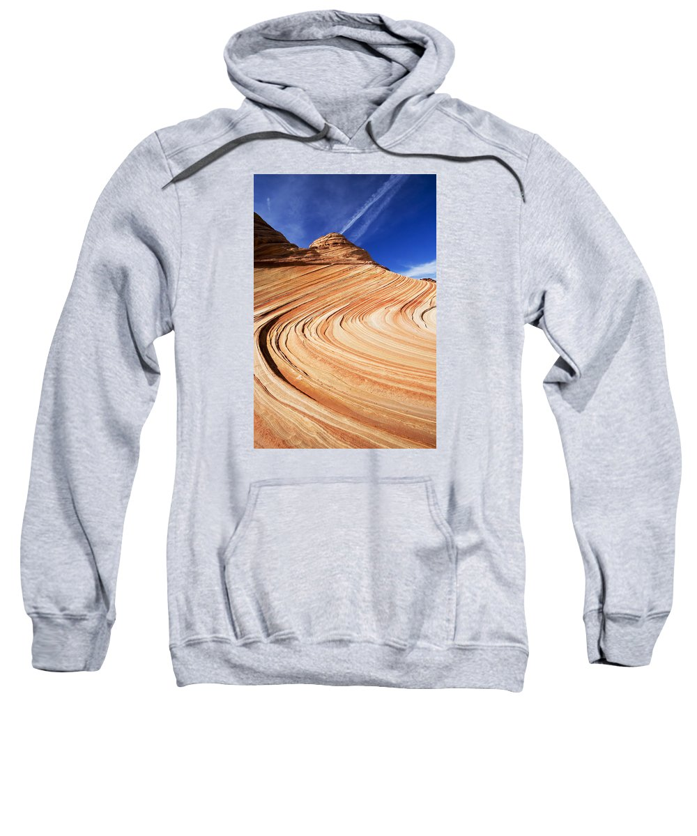 The Wave Sweatshirt featuring the photograph Sandstone Slide by Mike Dawson