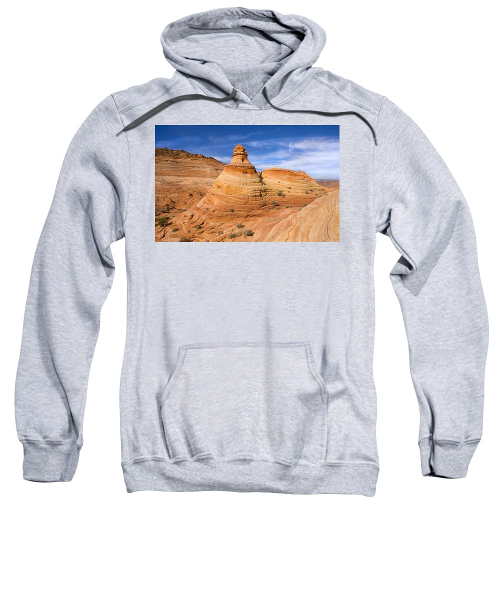 Tent Sweatshirt featuring the photograph Sandstone Tent Rock by Mike Dawson