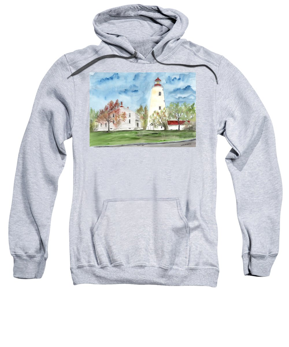 Watercolor Sweatshirt featuring the painting Sandy Hook Lighthouse by Derek Mccrea
