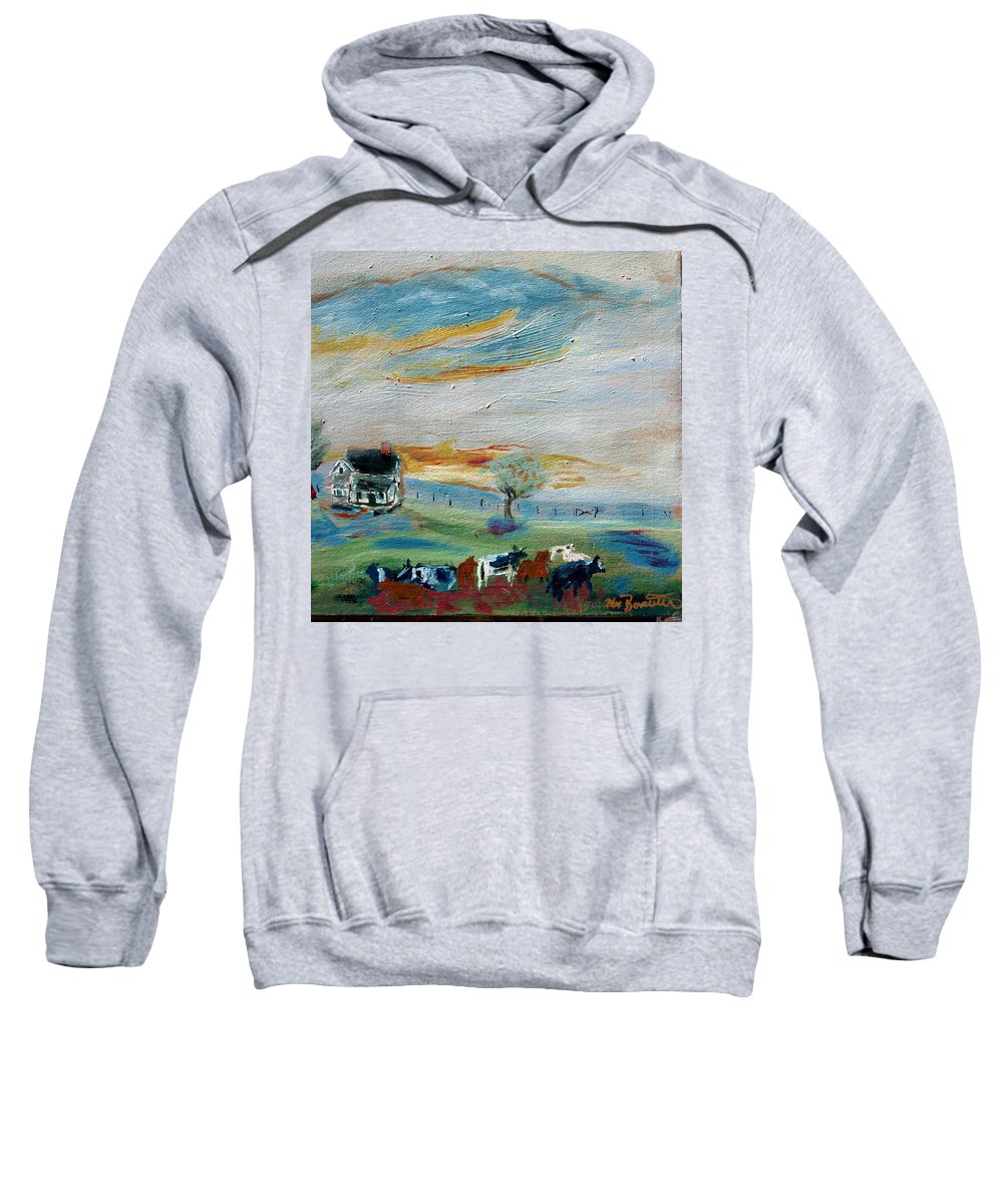 Country Sweatshirt featuring the painting Sandy Ridge Cattle by Max Bowermeister